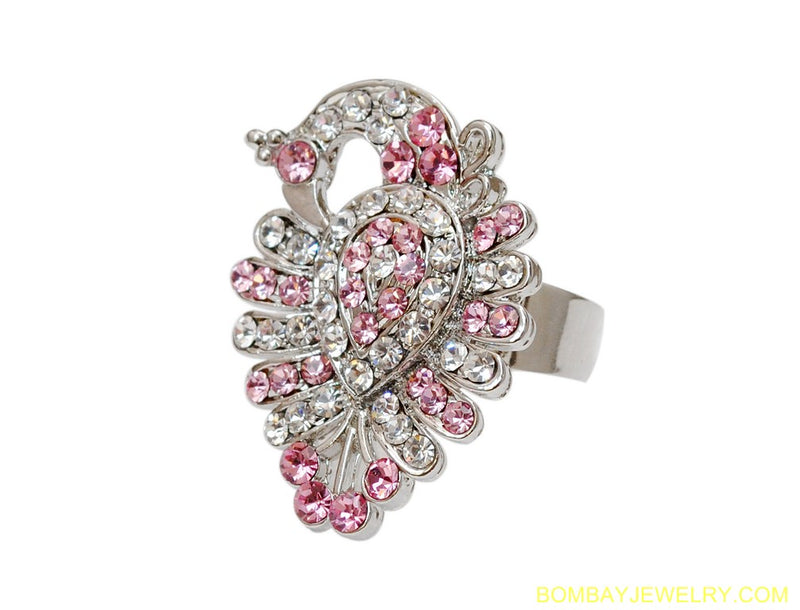 SILVERPLATED PINK AND WHITE DIAMOND RING