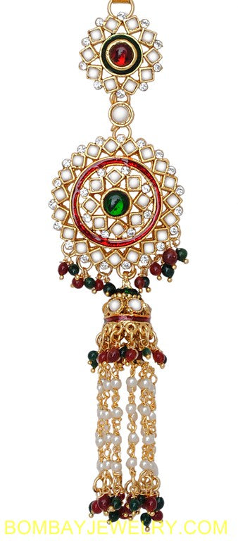 goldplated marron, green and white jhumi style saree key chain