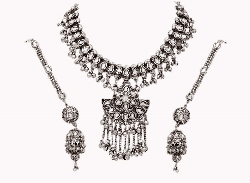 Beautiful silver polish kundan  set