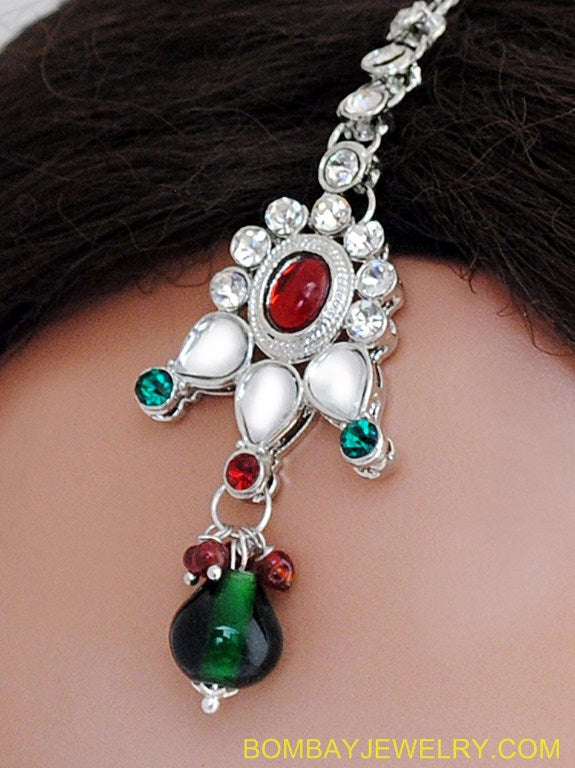 SILVERPLATED MAROON, GREEN AND WHITE KUNDAN TIKKA
