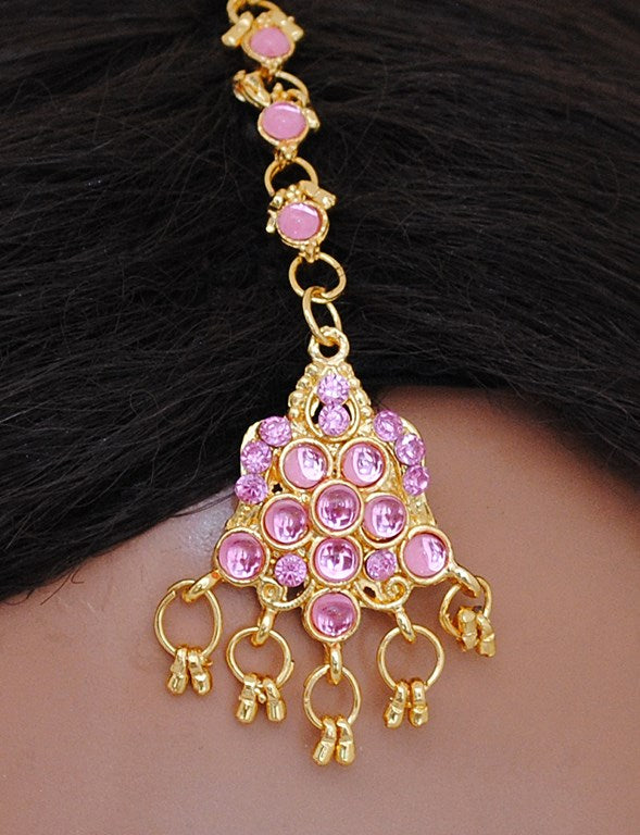 GOLDPLATED PINK HEAD PIECE TIKKA