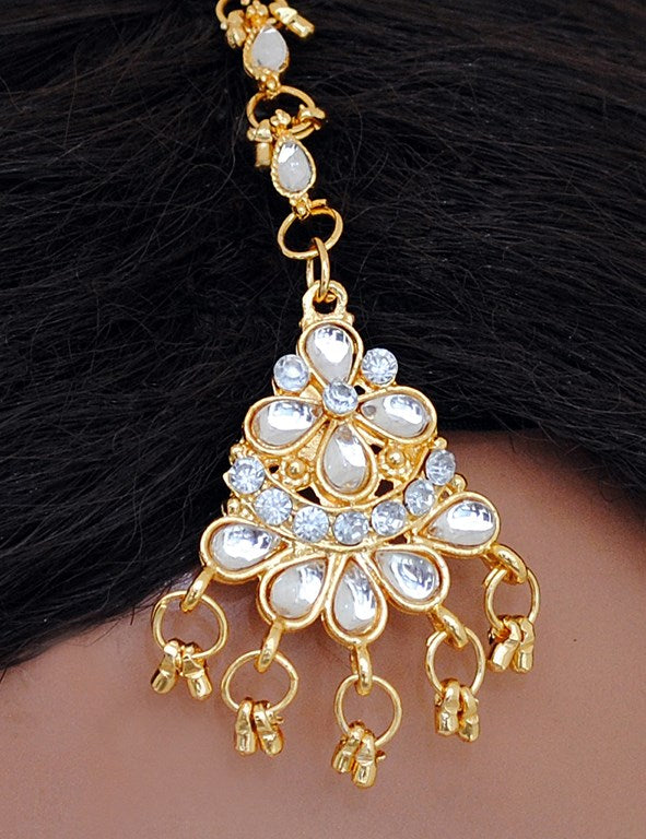 goldplated white head piece tikka