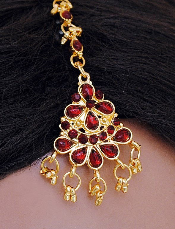 goldplated maroon head piece tikka