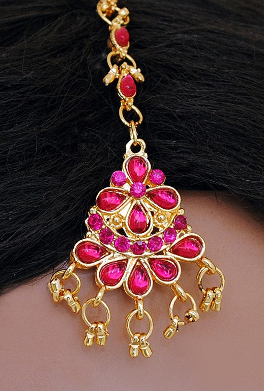 Fuschia pink head piece tikka