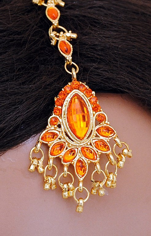 Orange and golden head piece tikka