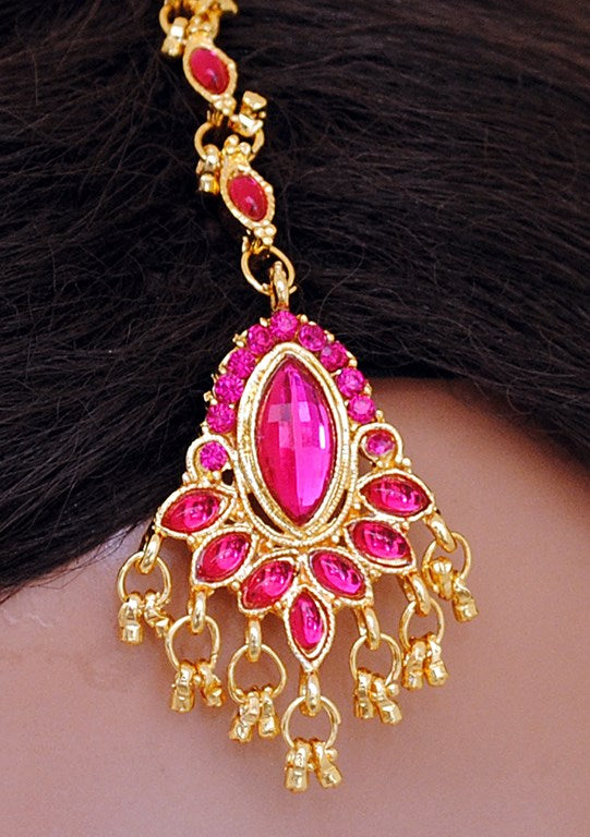 Fusicha pink and golden head piece tikka