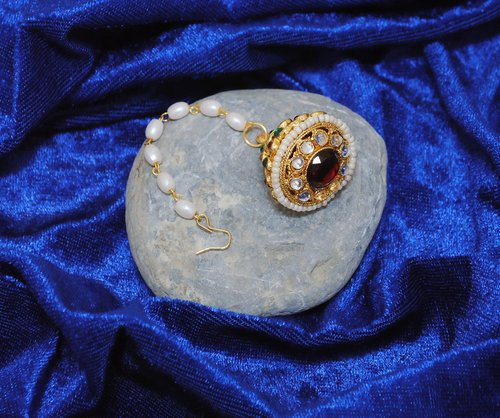 Goldpolish multicolour head piece tikka-1257