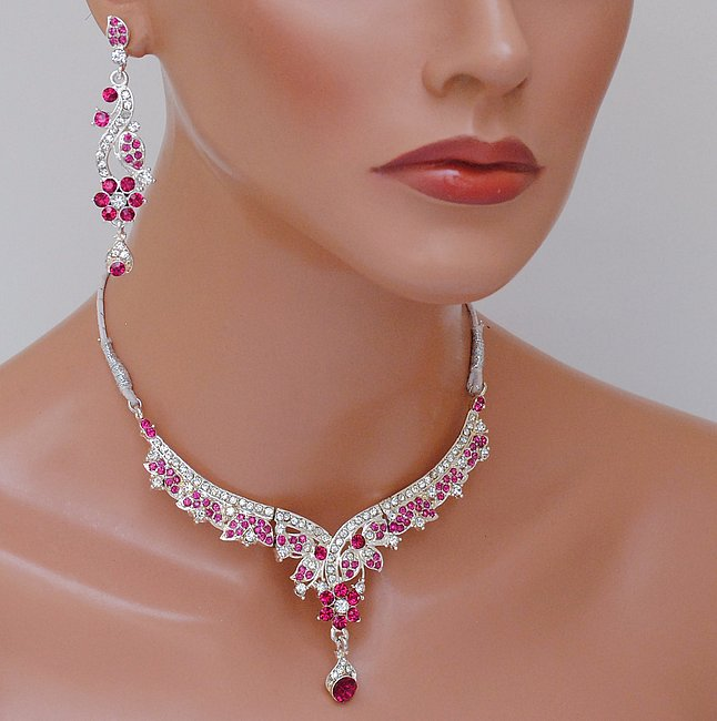 Silverploish fusicha pink and white diamond set-1143