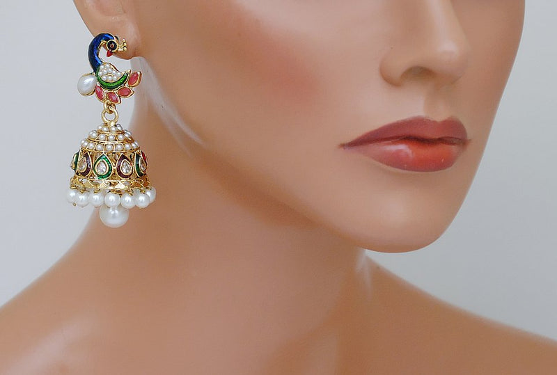 Goldpolish multicolour peacock jhumi earring-2208
