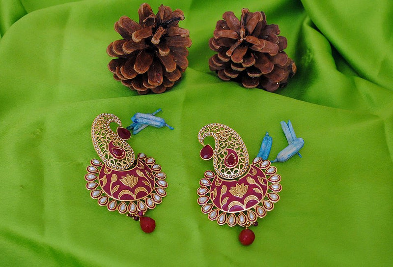 Goldpolish maroon and white pearl mango style earring-2233