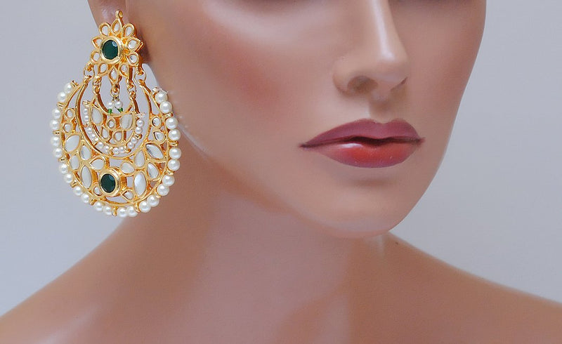 Goldpolish green and white kundan earring-2245