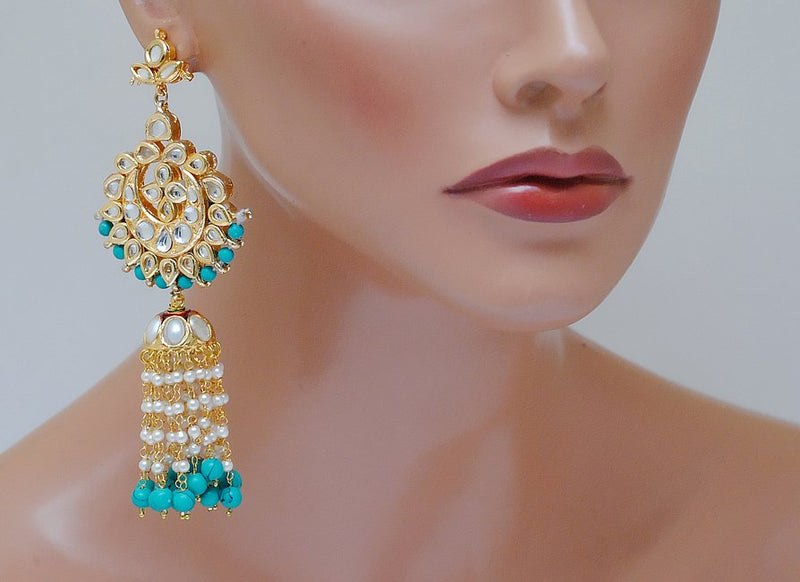 Goldpolish turquoise blue and white kundan earring-2248