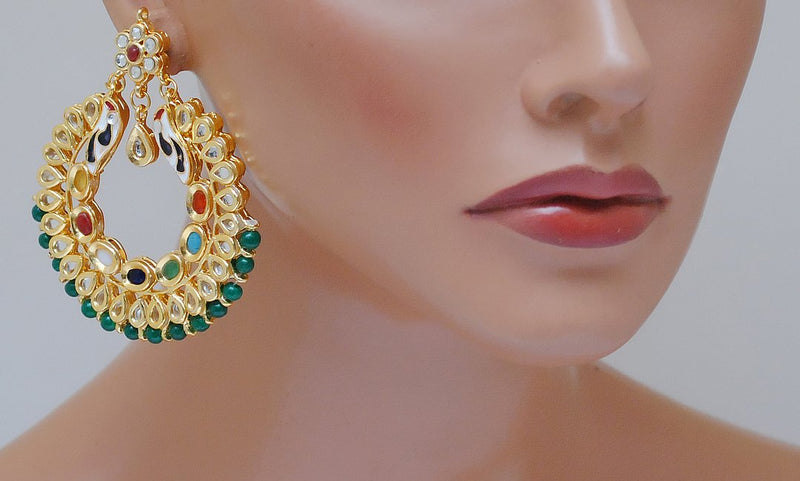 Goldpolish multicolor kundan earring-2250