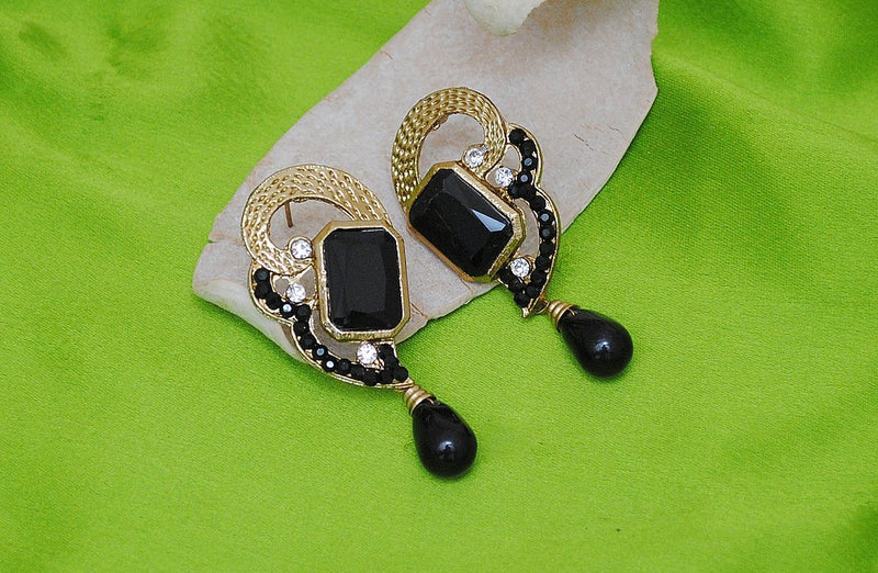 Goldpolish black diamond earring-2262