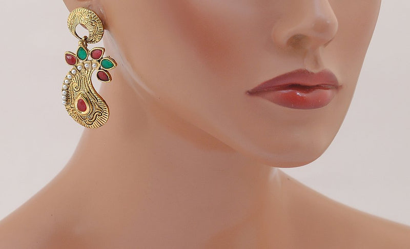 Goldpolish maroon, green leaf style earring-2279