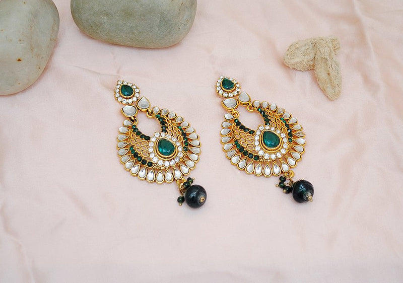 Goldpolish green and white earring-2293