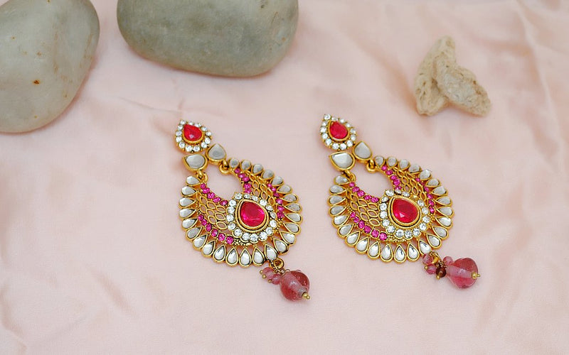 Goldpolsh hot pink and white earring-2296