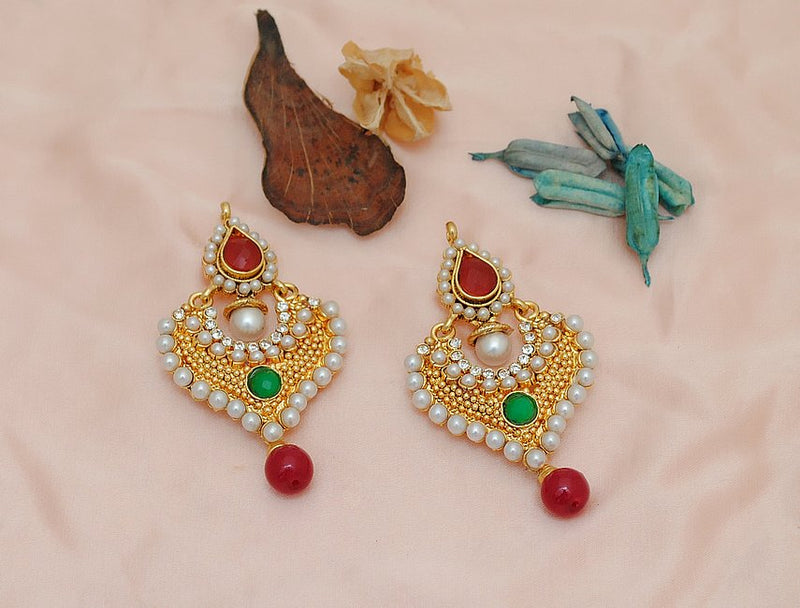 Goldpolish maroon, green and white earring-2329