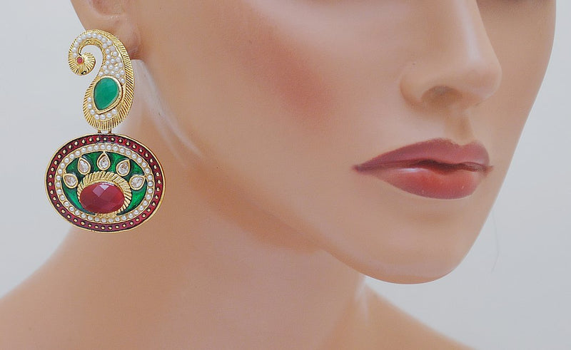 Goldpolish maroon, green and white earring-2335