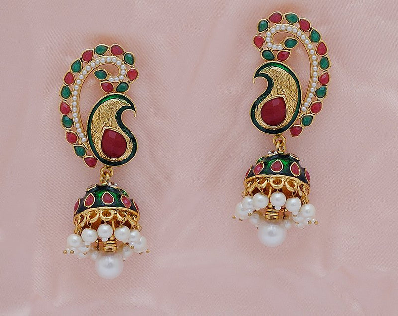 Goldpolish maroon, green and white earring-2337