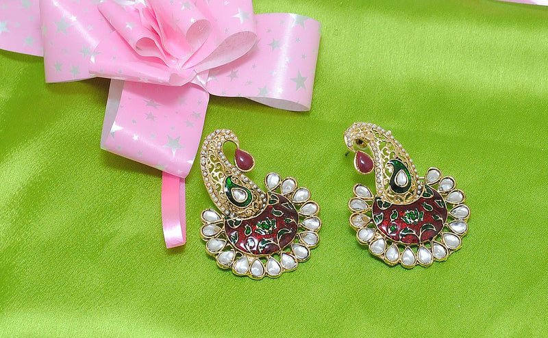 Goldpolish maroon, green and white mango earring-2346