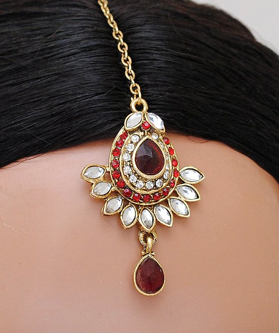 Goldpolish maroon and white kundan set-1761