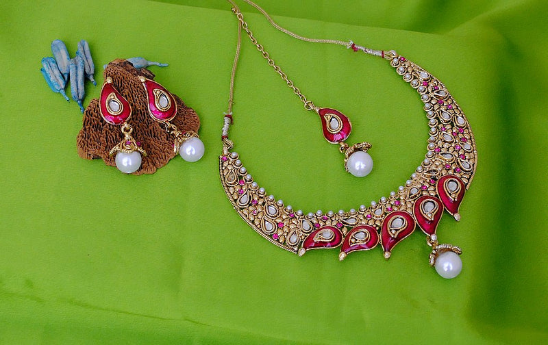 Goldpolish fusicha pink and white kundan set-1769