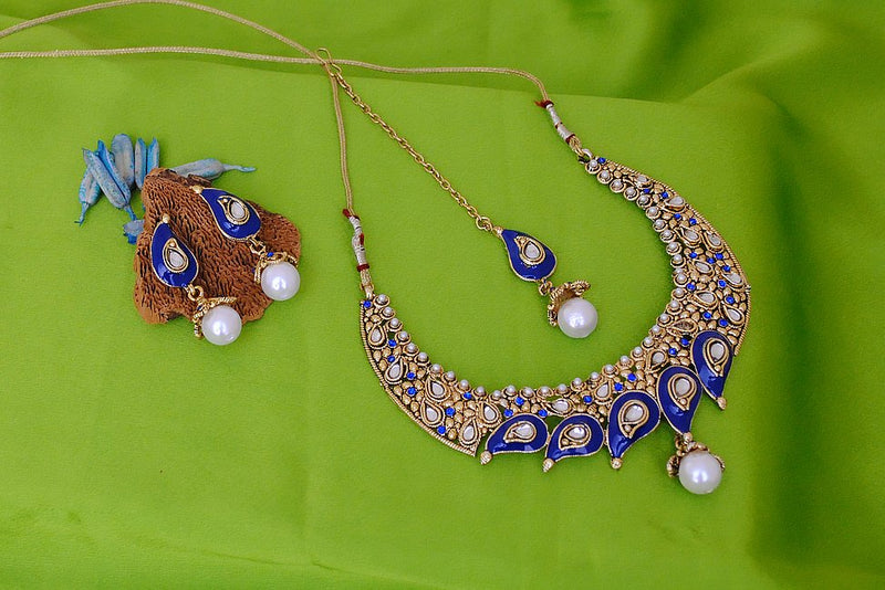 Goldpolish blue and white kundan set-1770