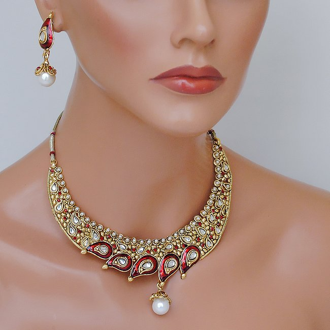 Goldpolish maroon and white kundan set-1771