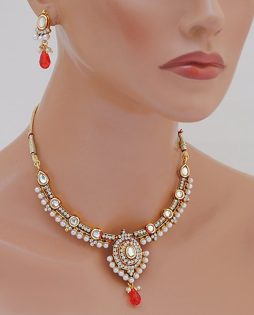 Goldpolish red and white kundan set-1810