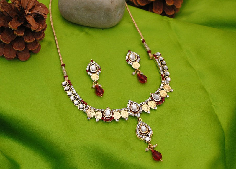 Goldpolish maroon and white kundan set-1815