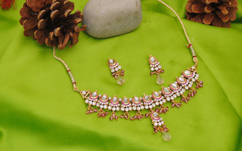 Goldpolish pink and white kundan set-1835