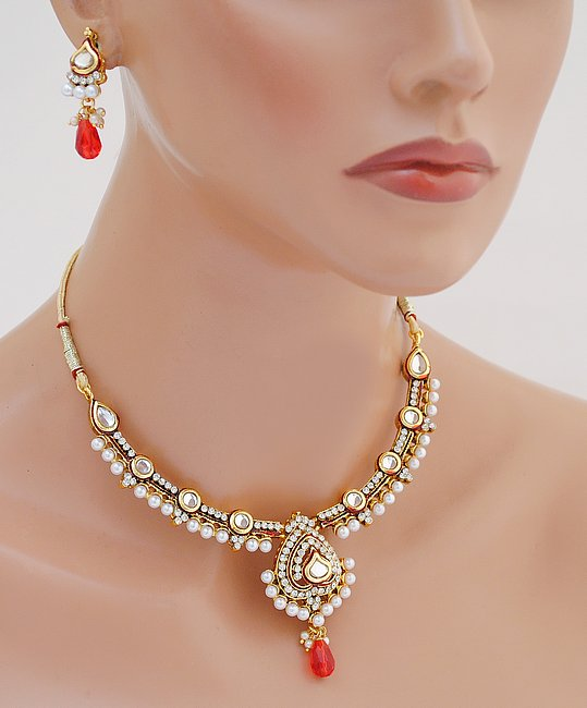 Goldpolish red and white kundan set-1839