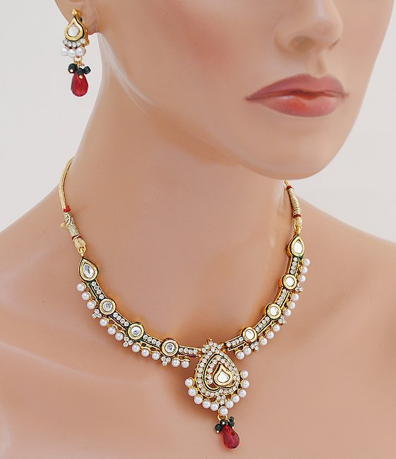 Goldpolish maroon, green and white kundan set-1840