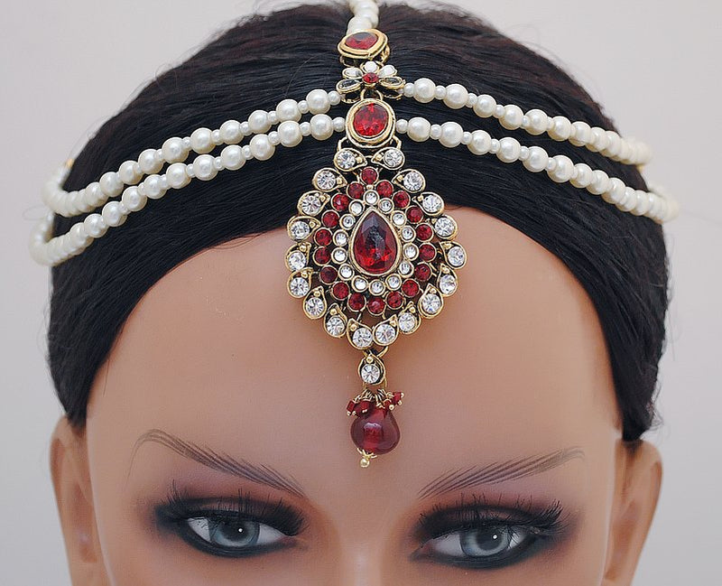 Goldpolish marron,green and white diamond and pearl head piece tikka-1197