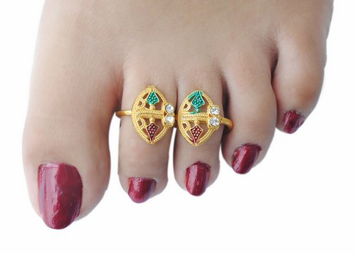 Goldpolish multicolour toe ring-1107