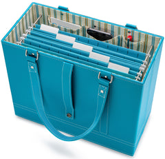 Aqua File Tote with hanging file folders