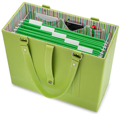 Lime File Tote with hanging file folders