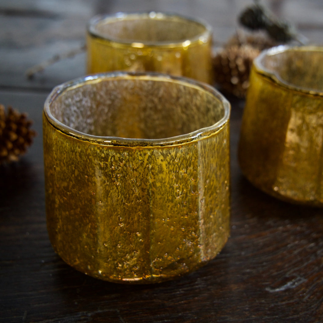 Gold Glass Votive Holder