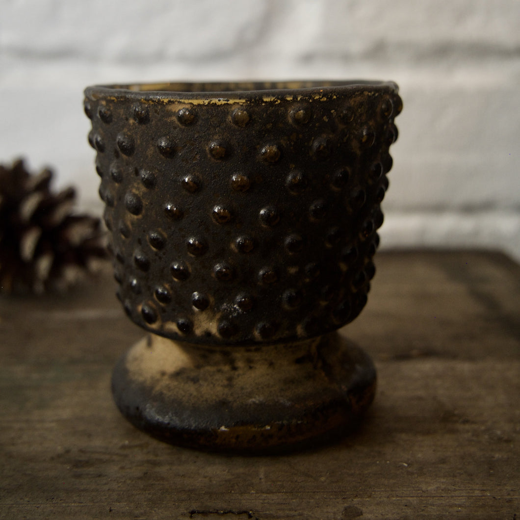 Brown Glass Votive Holder With Dots