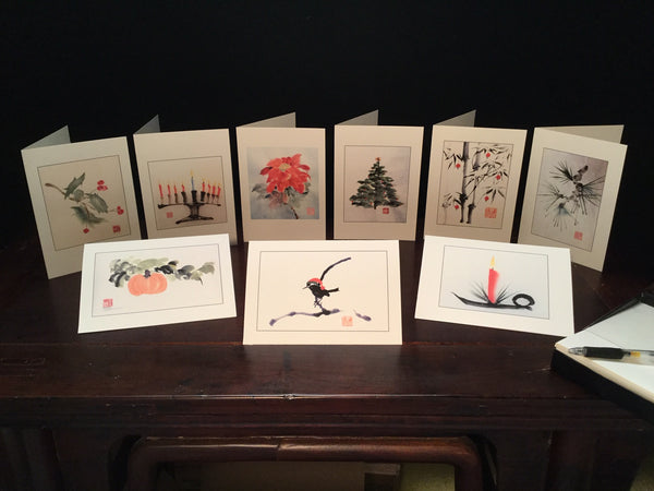 Bruce Iverson Asian Brush Painting Holiday Greetings in a Box