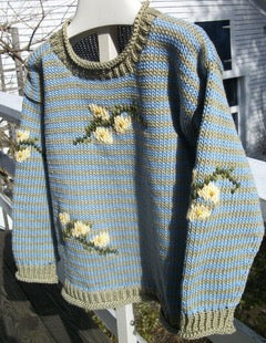 Buddie Sweaters Girls light blue and sage green cotton striped pullover
