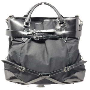 Buberry Nylon Leather Black Large Tote Bag.
