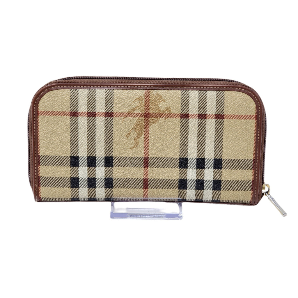 Burberry Canvas Leather Zippy Wallet.