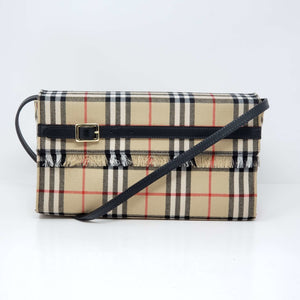 BURBERRY LABEL CHECK CANVAS LEATHER SHOULDER BAG - Luxury Cheaper