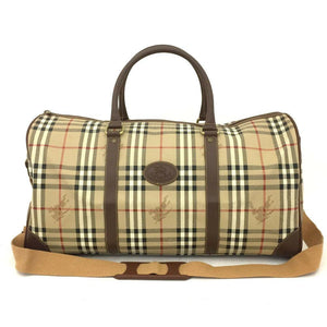 Burberry Nova Check PVC / Leather BostonTravel Bag.