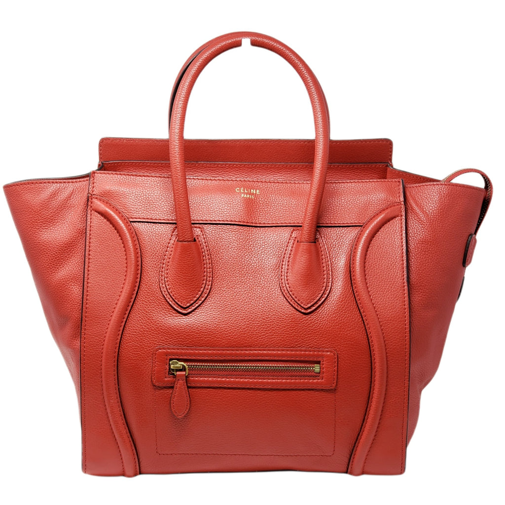 Celine Luggage Micro Red Leather Hand Bag - Luxury Cheaper