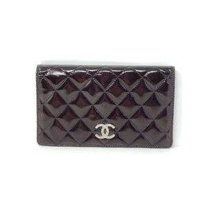Chanel Bifold Patent Black Leather Wallet.