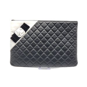 CHANEL Camellia O Case Quilted Lambskin Clutch - Luxury Cheaper