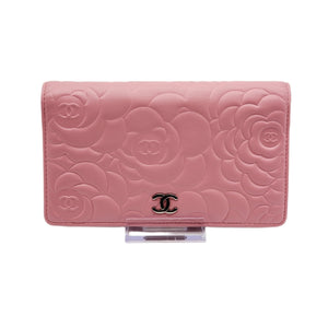 Chanel Camellia Rose Pink Bifold Wallet - Luxury Cheaper